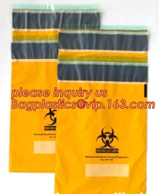 Shield Autoclavable Biohazard Bags , Biohazard Waste Bags With Pocket Medical Specimen