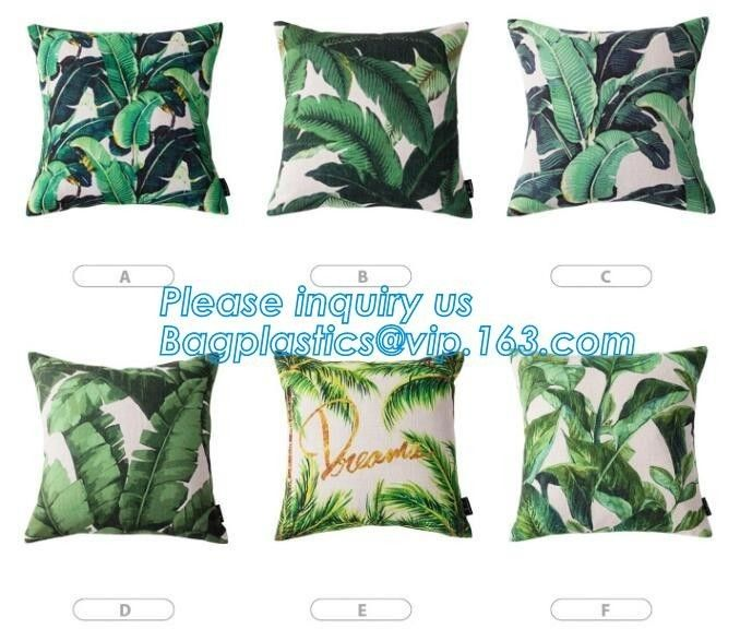 Tropical Leaf Latest Design Digital Printing , Cushion Cover Decorative Pillow Covers