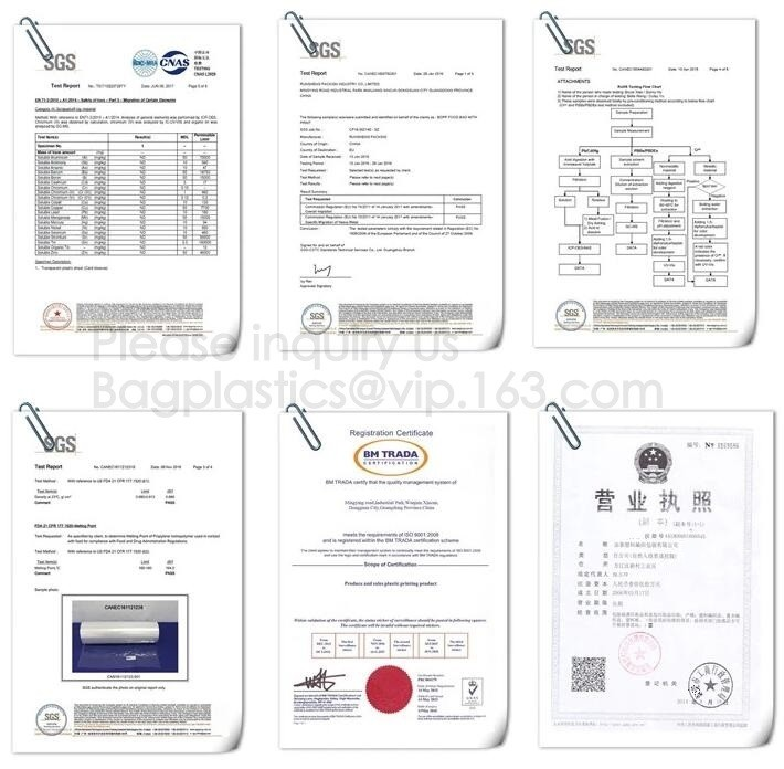 Chine YANTAI BAGEASE PACKAGING PRODUCTS CO.,LTD. Certifications